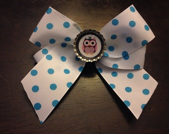 Turquoise & White Polka Dot Hair Bow with Owl Bottle Cap