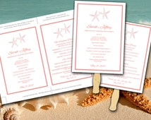 Beach Wedding Fan Coral Peach Starfish Microsoft Word Template - Ceremony Program - Outdoor Tropical Wedding Program Favor