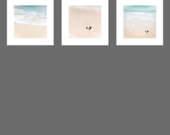 Beach Photography - SCOTTISH BEACH Print Set - Three Beach Photographs - Aqua Prints - Sea & Sand - Scottish Photography - Romantic Art