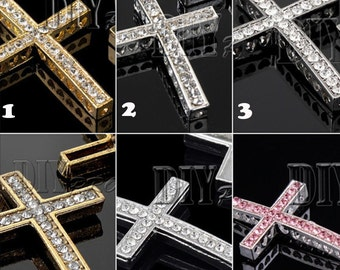 Cross Side Ways Crystal Bracelet Connector Free shipping By DIYpro #CON-CROSS-