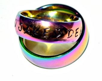 stainless steel rainbow colored ring