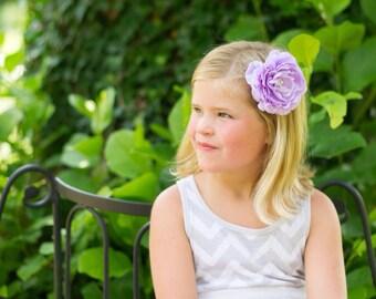 Lavender Flower Headband, Lavender Headband, Lavender Flower Girl Headband, Lavender birthday headband, purple headband, purple hair clip