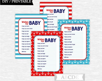 Instant Download Navy, Red and Blue Nautical Baby Shower Party Wishes for Baby cards Baby shower DIY Printable (PDN011)