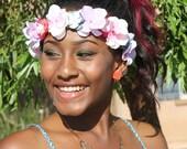 Mix Color Hula Flower Crown - Coachella Flower Headband -    Baby   Pink Hula  Flower crown -   Pink Flower child Crown -  Pink Sun Goddess
