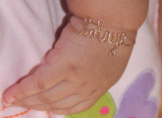 baby bracelet personalized custom 14k gold by moviestarjewelry