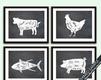 Beef, Chicken, Tuna Fish and Pork (Butcher Diagram Series B) - Set of 4 - Art Prints (Featured Vintage Chalkboard) Kitchen Prints