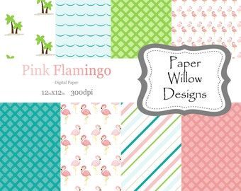 Pink Flamingo-(08)-12x12 Digital Papers-300dpi-Instant Download-Pink-Flamingo-Green-Palm Trees-Turquoise-Stripe-Beach-Pink Flamingo