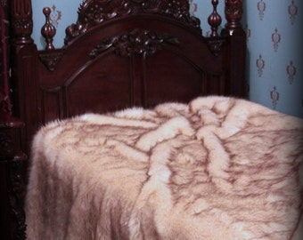 Soft Faux Fur Bedspread - Throw Blanket - Comforter - Arctic Fox - White With Brown Tips Lined with Soft Minky Cuddle Fur - Fur Accents USA