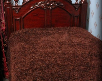 FUR ACCENTS Curly Buffalo Faux Fur Bedspread /  Brown Bear Throw Blanket