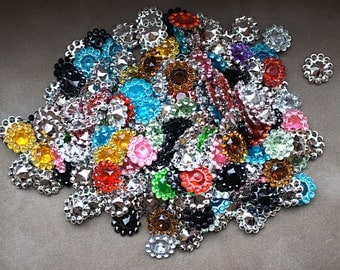 25pcs Grab Bag 11mm acrylic rhinestones - Mini Acrylic Buttons - Flower center - 11mm Button - Wholesale Buttons - rhinestone embellishment