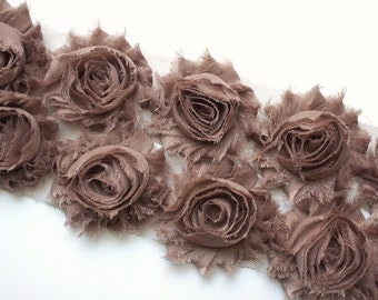 1/2 Yard Taupe Shabby Chiffon Flowers - Solid Shabby Rose Trim - Shabby Chiffon Rosettes - Taupe Flowers - Flowers by the Yard -