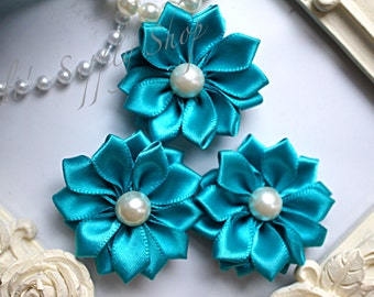 """3 Teal 1.5"""" Satin Flowers w/ Pearl Center - Teal Petite Satin flower - Satin Ribbon Flower - Fabric Flower - wholesale flowers"""