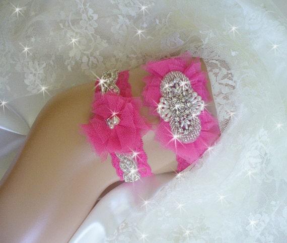 Wedding Dress Garter: Items Similar To Hot Pink Prom Garter, Wedding Garter Set