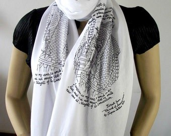 EDGAR ALLAN POE Book scarf Literary Scarf Book on Scarf Quote Scarf - The Cask of Amontillado - Christmas Gifts for Book lovers