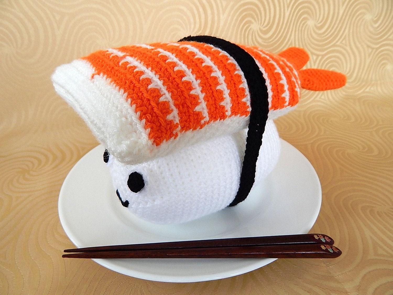 Amigurumi Sushi Cat : Amigurumi Crochet Pattern Jumbo Sushi Ebi/shrimp Pattern