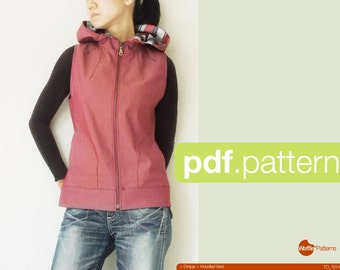 PDF sewing pattern. Women Hooded Vest -Dropje- (size 34-48)