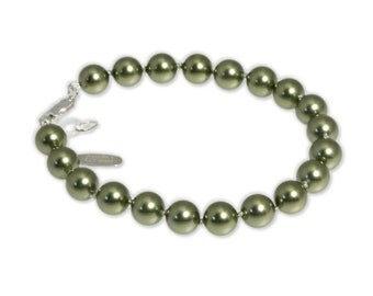 Sage Green Crystal Simulated Pearl Silk Knotted Sterling Silver Bracelet By Autumn's Glory * FREE Shipping in USA *