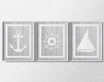 Nautical Art, Nautical Prints, Nautical Decor, 3 Piece Print Set, Sailing Art, Beach Art, Beach HouseDecor, Nautical Poster, 0322