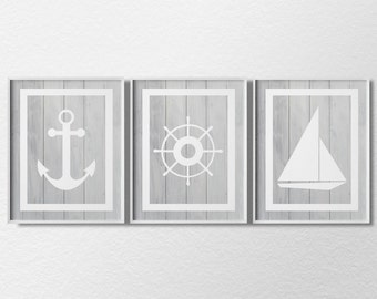 Nautical Art, Nautical Prints, Nautical Decor, 3 Piece Print Set, Sailing Art, Beach Art, Beach HouseDecor, Nautical Poster, 0322