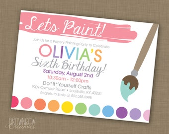 PRINTABLE Painting Party Customized Invitation