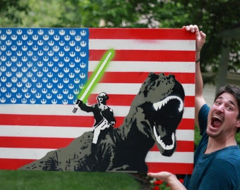 Merica (George Washington with Lightsaber riding a T Rex ...