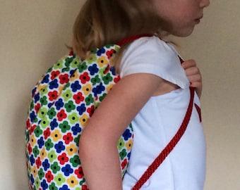 Girls Flower Backpack bag, Swim Bag, PE Bag