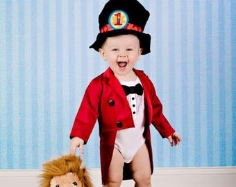 Ringmaster Costume - Tuxedo Jacket Fully Lined with Tails and Bowtie Onesie or T-Shirt, 1st Birthday, Carnival, Circus