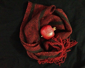 the enchanted seeds, pomegranate red handwoven wool scarf..by The Weaver of Words...weaving fibers & fables