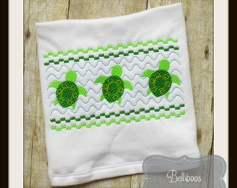 Turtle Faux Smocking - Turtle Embroidery Design - Beach Faux Smocking - Beach Embroidery Design - Summer Faux Smocking - Summer Embroidery