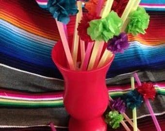 Mexican Paper Flower Straws for Your FIESTA - 2 Dozen!