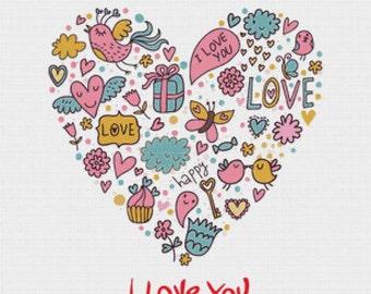 I Love You PDF Cross Stitch Pattern
