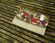 E.Cigarette  case in linen and  liberty Stanley lie de lin vert