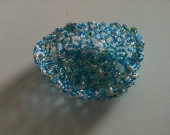beaded mostly blue and white wire basket