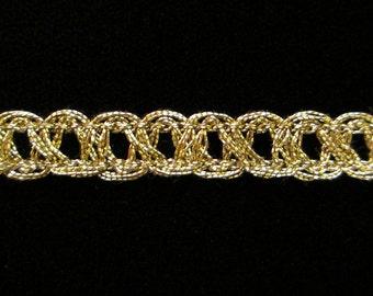 """637.2 Metallic gimp trim - """"Fine parallel"""" antique-gold - 3/8"""" (9mm)"""