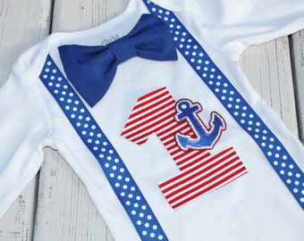 Sailor Birthday Outfit, First Birthday Outfit, Number One Bodysuit