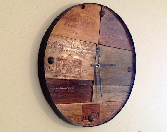 Vineyard Reclaimed Wood Barrel Wall Clock Time Piece Wine