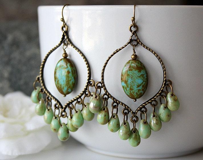 Green Picasso Czech Glass Chandelier Earrings Green Bohemian