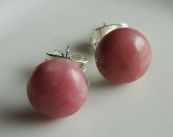 Rhodochrosite Natural Stone Round 8mm Post Earring