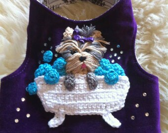 Small Dog Harness - Yorkie in a Bathtub Harness , by La Maison Vienna Couture Canine