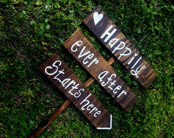 Wedding Road Sign, Happily Ever After Starts Here, Personalized Wedding Signs, Wedding Ceremony Sign, Wedding Directional Sign