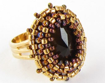 Spiked Faceted Glass Cabochon Adjustable Ring - topaz brown, gold and bronze bead embroidery with faceted pointed glass cabochon