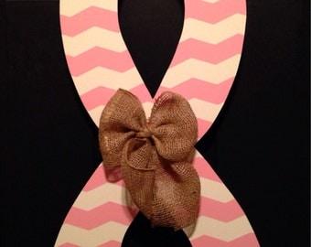 Breast Cancer Awareness Chevron Ribbon Door Hanger