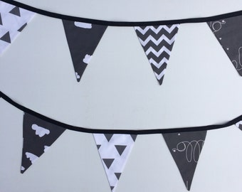 Black & White Hello Clouds (Monochrome) Bunting Flags
