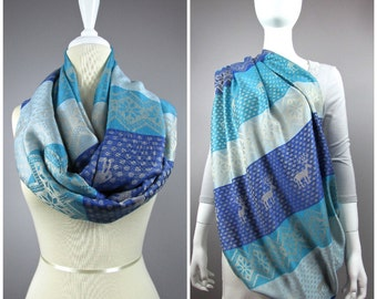 Deer Nursing cover  scarf, nursing cover, blue infinity scarf,  breastfeeding cover, nursing infinity scarf , Nordic scarf
