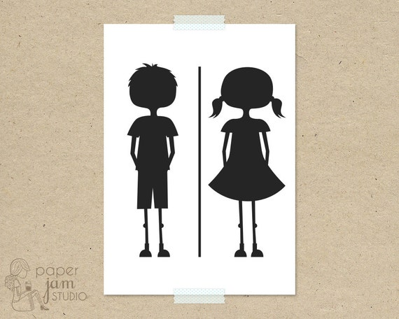 Items Similar To Little Girl Boy Bathroom Sign WC Fun Toilet Symbol Ameni