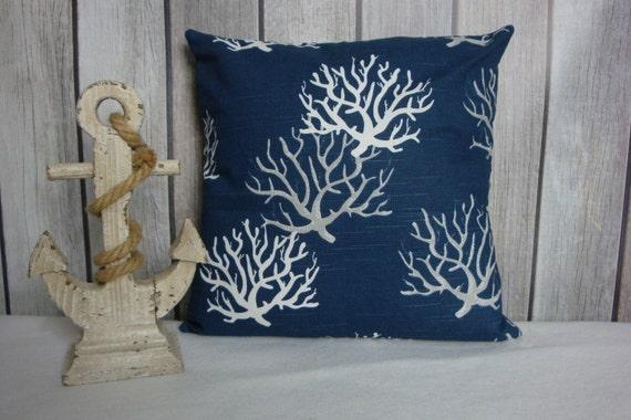 Throw Pillow. Navy Pillow Cover. Beach Theme Pillow Covers. Pillow Covers. Pillows. Ocean Decor. Nautical Decor