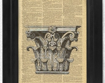 Corinthian Capital, Architecture on 100 yr old Antique Dictionary Page, Wall Decor, Wall Decor, Book Art