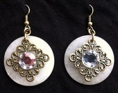 Beautiful Bronze and Glass Filigree Art Nouveau Gem Dangle Earrings, Semi Precious