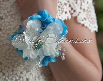 Something Blue Brooch Corsage. Mother of the Bride, Bridesmaid wrist bracelet. Heirloom Turquoise Blue corsage - Ruby Blooms Weddings