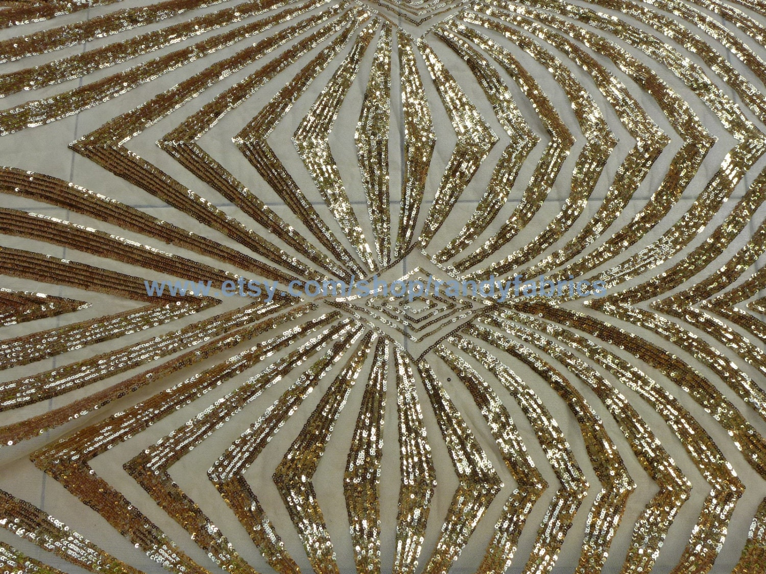 Gold sequin embroidery fabric stage performances